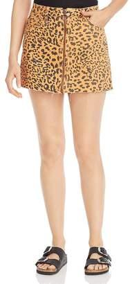 Free People Zip It Up Leopard Print Denim Mini Skirt