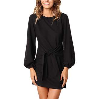 Katesid Women Casual Dress Long Sleeve Waist Tie T Shirt Mini Party Skirt L