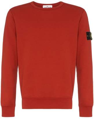 Stone Island burnt orange crew neck cotton jumper