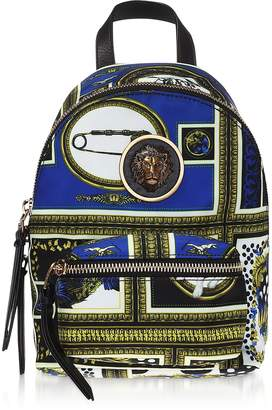 Versace Versus Heritage Border Printed Canvas and Leather Mini Lion Backpack