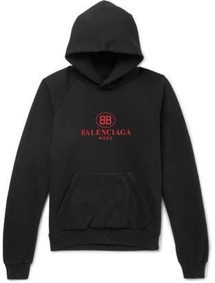 Balenciaga Logo-Print Cotton-Blend Jersey Hoodie