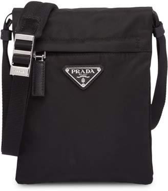 Prada black technical fabric shoulder bag