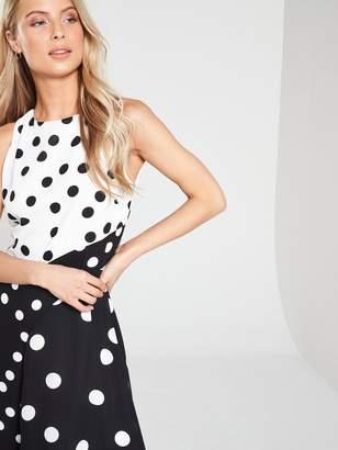 Wallis Polka Dot Asymmetric Spot Skater Dress - Mono