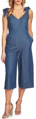CeCe Wide Leg Crop Chambray Crop Jumpsuit