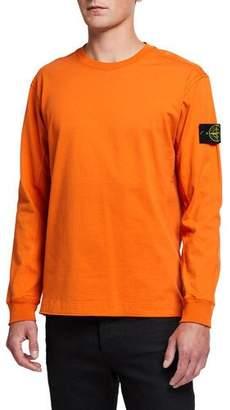 Stone Island Men's Solid Crewneck Long-Sleeve T-Shirt w/ Logo Patch