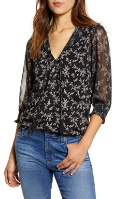 Lucky Brand Mixed Print Sheer Sleeve Top