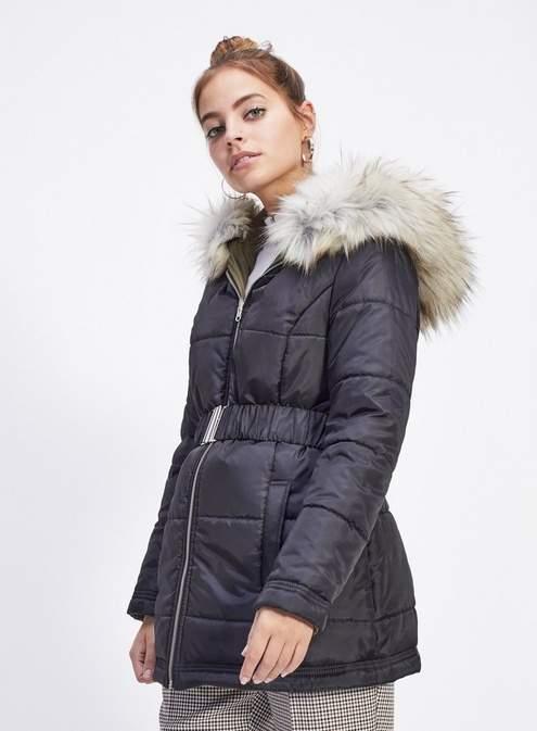 Petite black reversible puffa parka coat