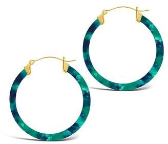 Sterling Forever 14K Yellow Gold Plated 50mm Marbled Acetate Hoop Earrings