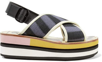 Marni Leather-trimmed Woven Canvas Platform Slingback Sandals - Storm blue