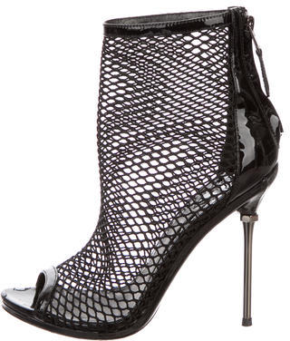 Brian Atwood Mesh Peep-Toe Ankle Boots $145 thestylecure.com