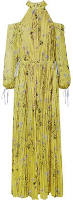 Self-Portrait Cold-shoulder Printed Pleated Chiffon Maxi Dress - Yellow