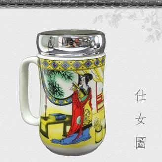Green & Black Smiling Juju Ceramic Tea Cup Porcelain Coffee Mug for Latte Espresso Mocha Green Black Tea Classic Asian Beauty Design w Lid 12 oz