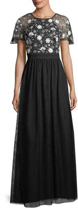 Aidan Mattox Hand-Beaded Short-Sleeve Tulle Evening Gown