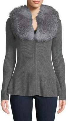 Neiman Marcus Luxury Cashmere Peplum Cardigan with Fox Fur-Collar
