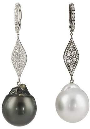 Samira 13 Women's Diamond & Pearl Mismatched Drop Earrings - Pearl