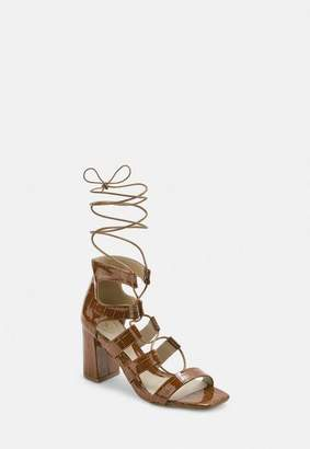 Missguided Tan Patent Croc Ghillie Mid Heel Sandals