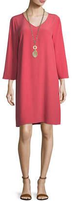 Eileen Fisher Crinkle-Knit Long-Sleeve Shift Dress
