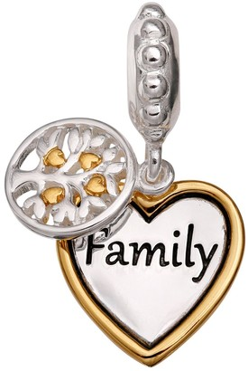 """Individuality Beads Sterling Silver & 14k Gold Over Silver """"Family"""" Heart Charm"""