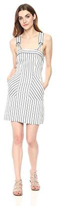 Milly Women's Cotton Linen Narrow Stripe Mini Apron Dress