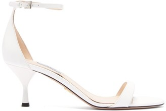 Prada Patent Leather Kitten Heel Sandals - Womens - White