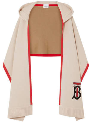 Burberry Hooded Appliquéd Cashmere-blend Scarf - White