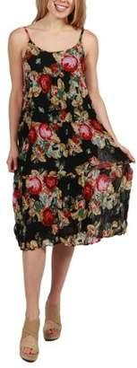 24/7 Comfort Apparel 24Seven Comfort Apparel Faye Black Floral Print Dress