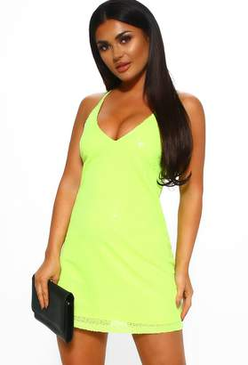 2e125c16 Pink Boutique Let's Go Party Neon Lime Sequin Mini Dress
