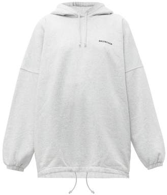 Balenciaga Oversized Cotton Blend Hooded Sweatshirt - Womens - Light Grey
