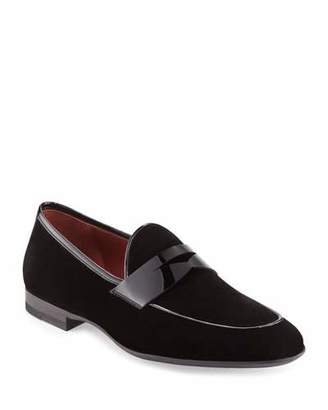 Magnanni Velvet Formal Penny Loafer, Black