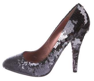 Miu Miu Sequined Round-Toe Pumps