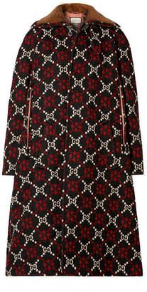 Gucci Faux Shearling-trimmed Wool-jacquard Coat - Black