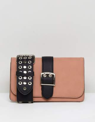 Lavand Across Body Bag With Studded Cut Out Strap