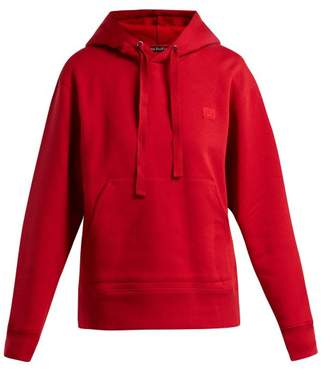 Acne Studios Ferris Face Hooded Cotton Sweatshirt - Womens - Red