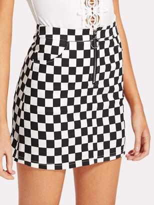 SheinShein O-Ring Zipper Front Plaid Skirt