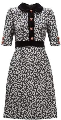 Dolce & Gabbana Leopard Jacquard And Velvet Trim Midi Dress - Womens - Silver Multi