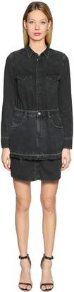 Diesel Cotton Denim Dress W/ Mini Skirt