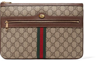 Gucci Ophidia Textured Leather-trimmed Printed Coated-canvas Pouch - Brown