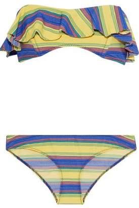 Lisa Marie Fernandez Natalie Ruffled Striped Stretch-Cotton Bandeau Bikini