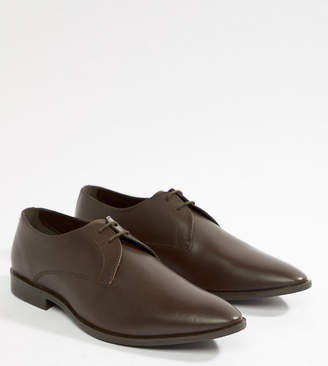 Frank Wright Wide Fit Derby Shoes In Brown Leather