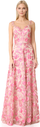 Marchesa Notte Floral Embroidered Gown $1,295 thestylecure.com