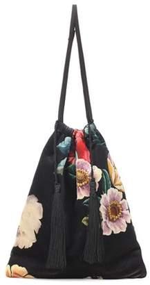 ATTICO Floral-printed velvet pouch