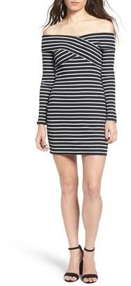 Women's Cream And Sugar Stripe Off The Shoulder Body-Con Dress $49 thestylecure.com