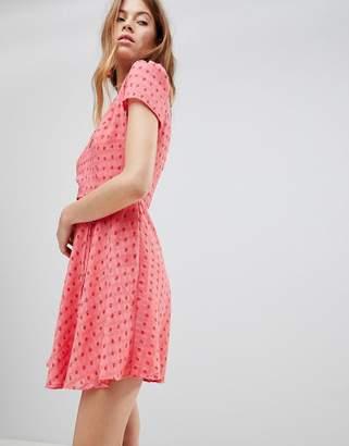 Glamorous Mini Tea Dress With Tie Waist In Ditsy Rose