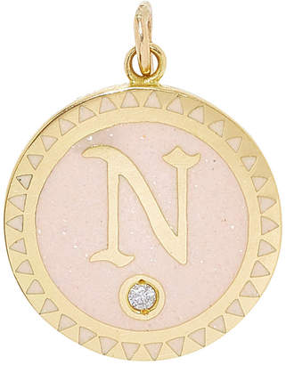 Foundrae Petite Champleve Initial Medallion in Blush