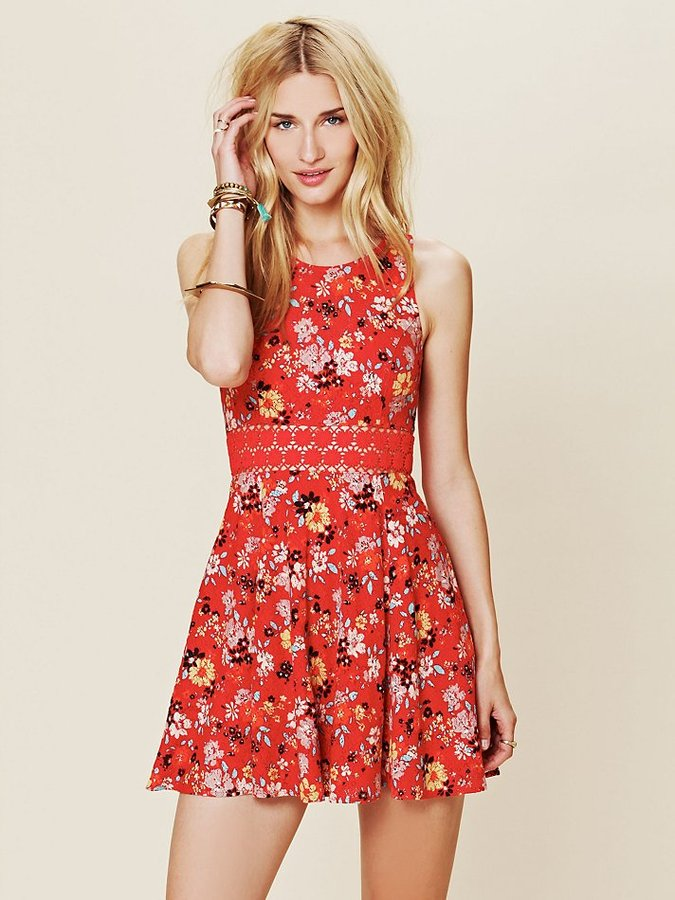 Free People Floral Print Daisy Fit and Flare