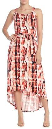 Loveappella Abstract Print Maxi Tie Dress
