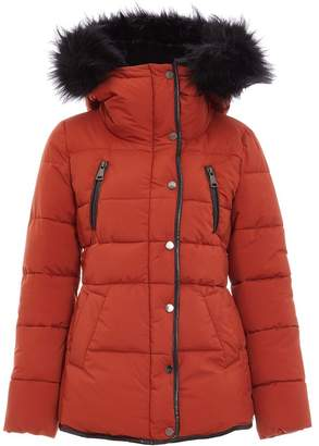 Quiz Rust and Black Padded Fur Trim Jacket