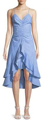 Joie Eberta Striped Cotton High-Low Ruffle Dress