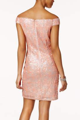 Adrianna Papell Off Shoulder Sheath Dress