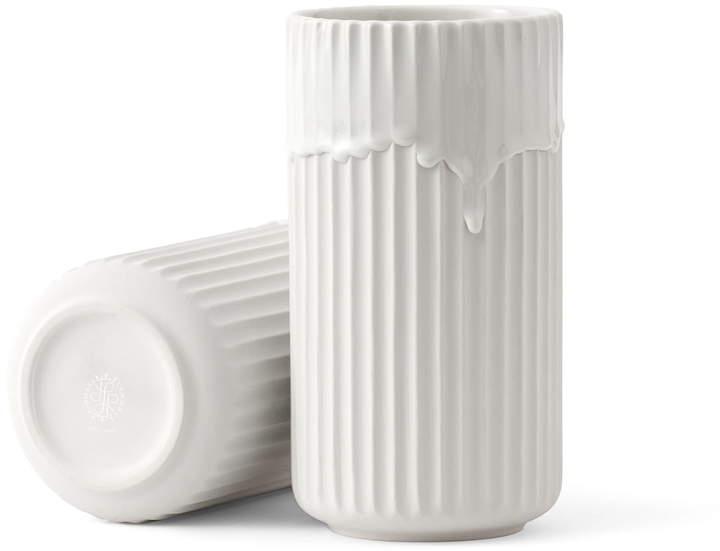 Lyngby Porcelæn - Lyngbyvase mit Laufglasur H 20 cm, Weiß